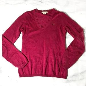 Lacoste Raspberry Pink V-Neck Pullover Sweater